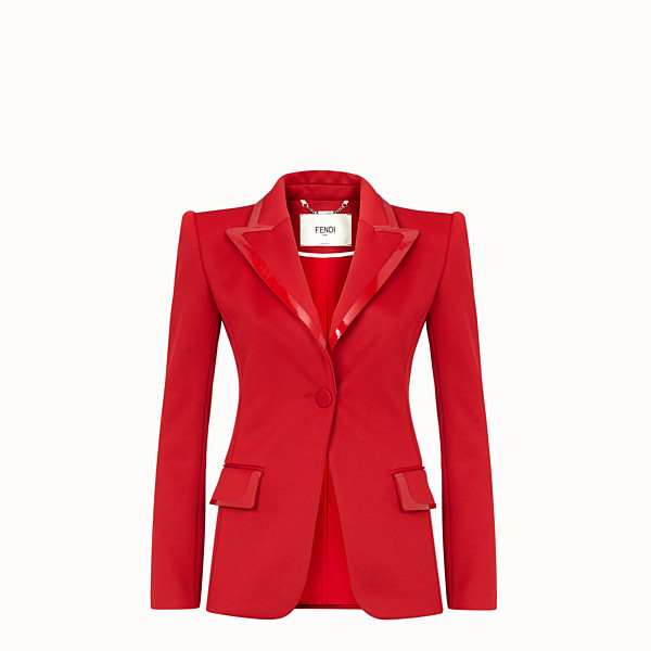 FENDI JACKET - Red piqué blazer - view 1 small thumbnail