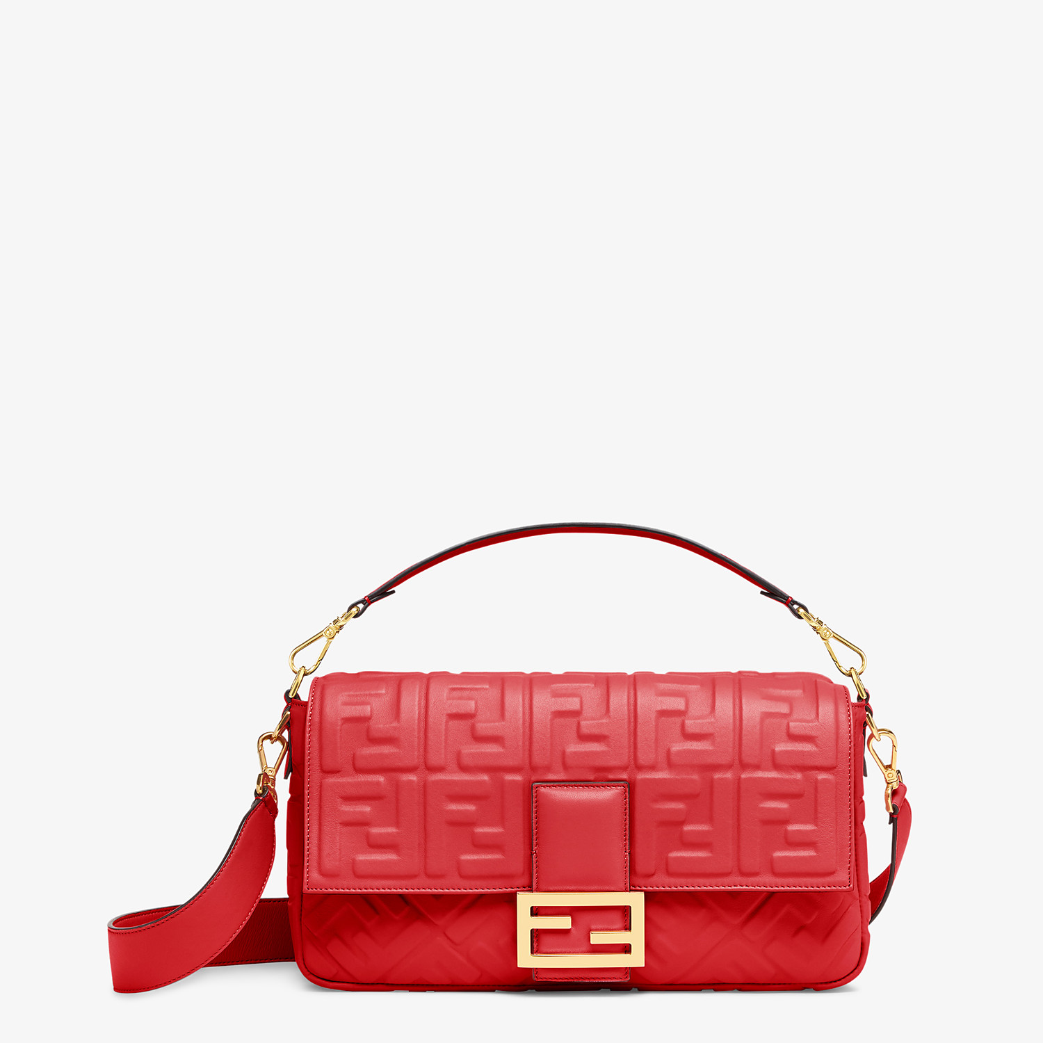 FENDI BAGUETTE LARGE - Red leather bag - view 1 detail