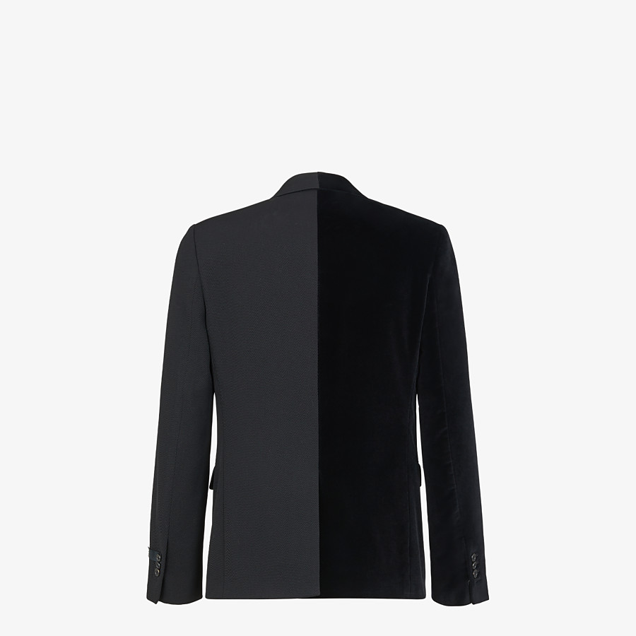 FENDI JACKET - Black velvet and wool blazer - view 2 detail