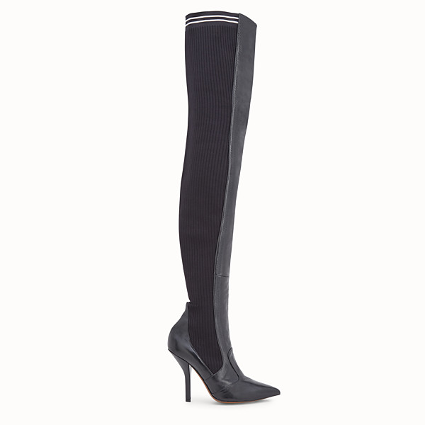 FENDI BOOTS - Black leather thigh-high boots - view 1 small thumbnail