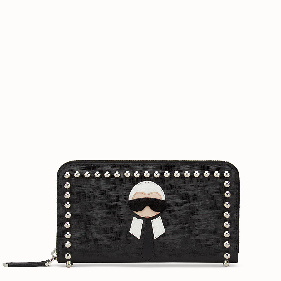 FENDI WALLET - Black leather zip-around wallet with inlay - view 1 detail