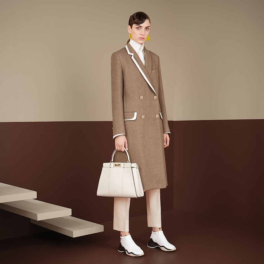 FENDI COAT - Beige silk and wool coat - view 4 detail
