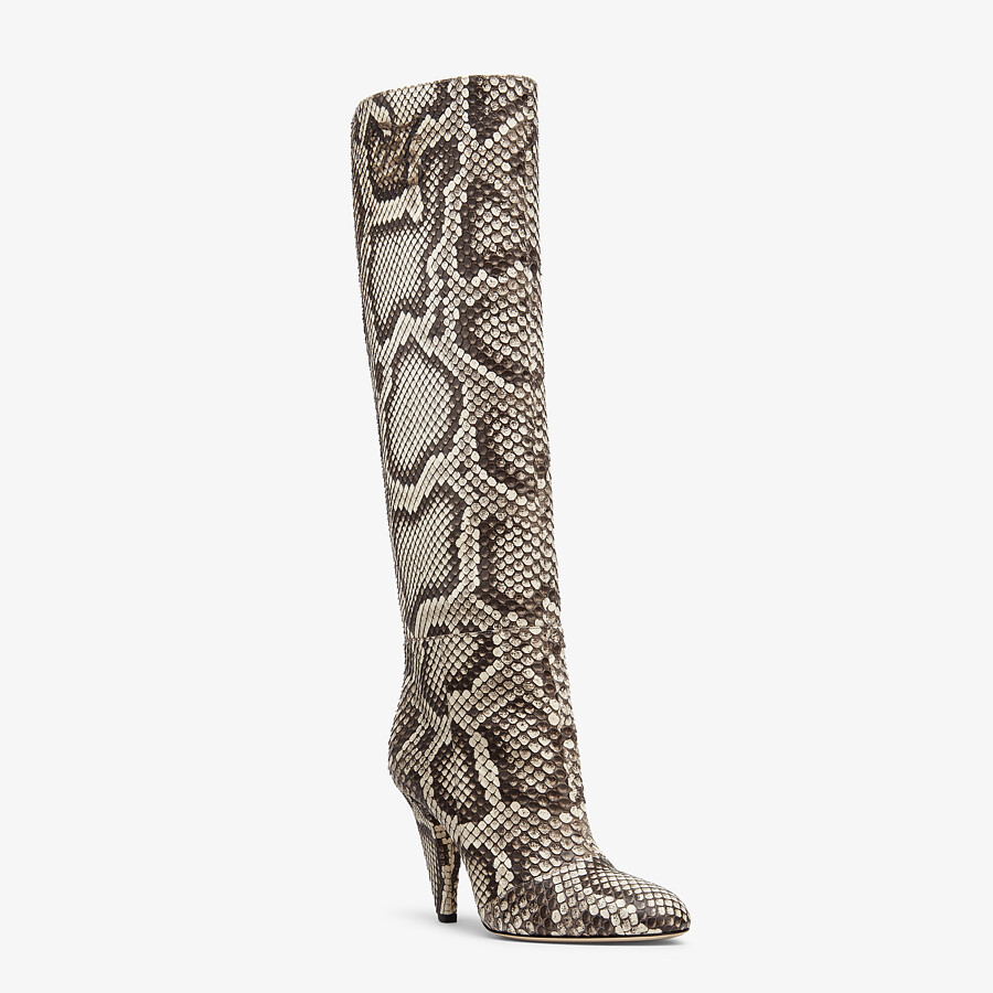 FENDI KARLIGRAPHY - High-heeled boots in brown python - view 2 detail