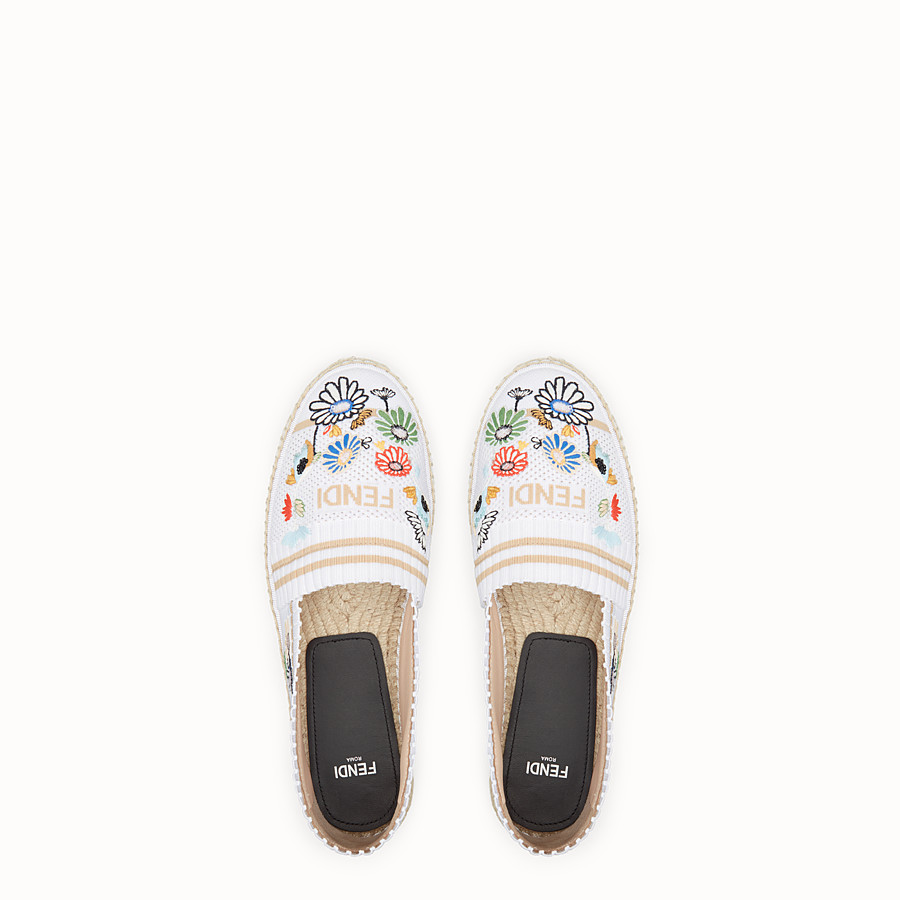 FENDI ESPADRILLES - White fabric espadrilles - view 4 detail