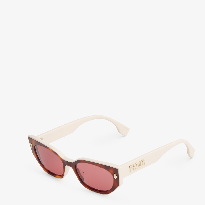 FENDI FENDI BOLD - Havana and creamy white acetate sunglasses - view 2 detail