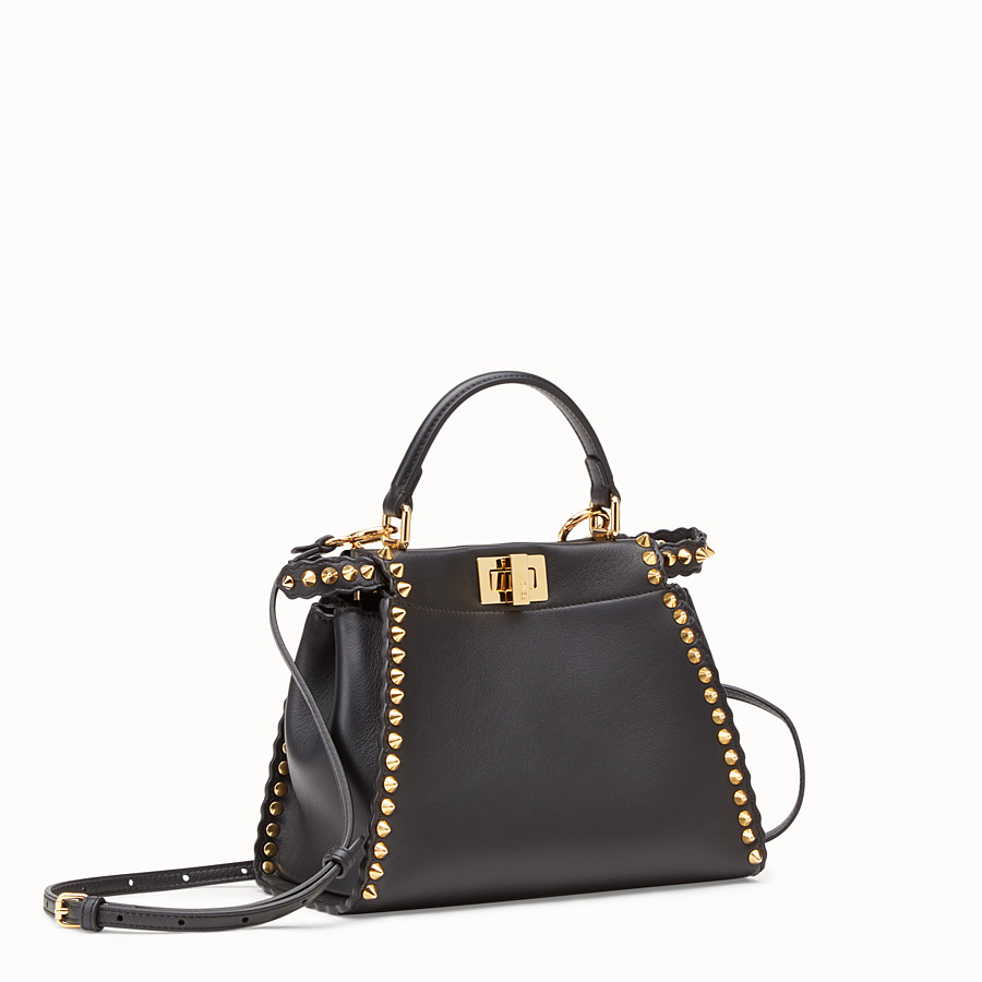 FENDI PEEKABOO MINI - Black leather bag - view 2 detail