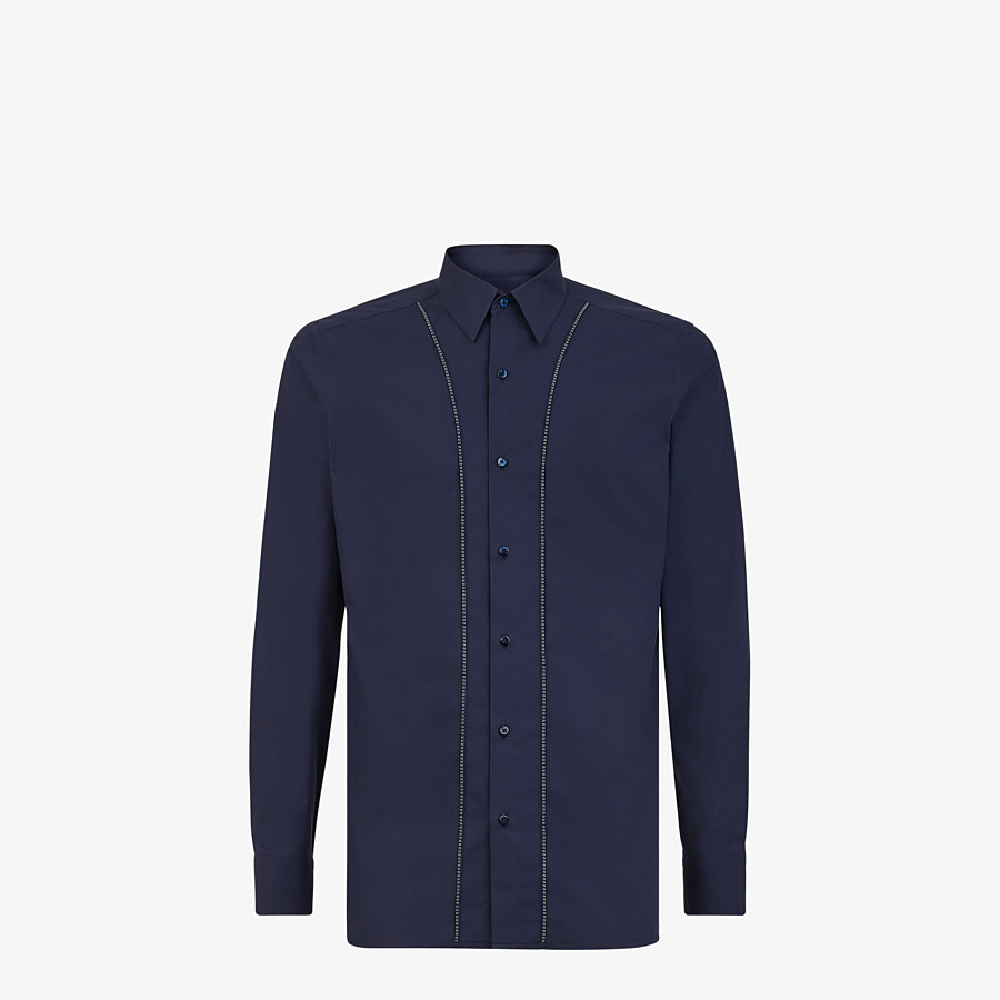FENDI SHIRT - Blue cotton shirt - view 1 detail