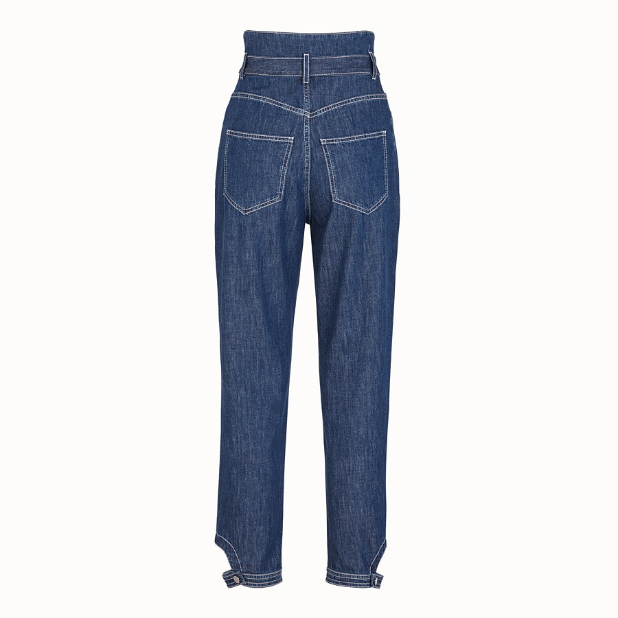 FENDI TROUSERS - Blue cotton jeans - view 2 detail