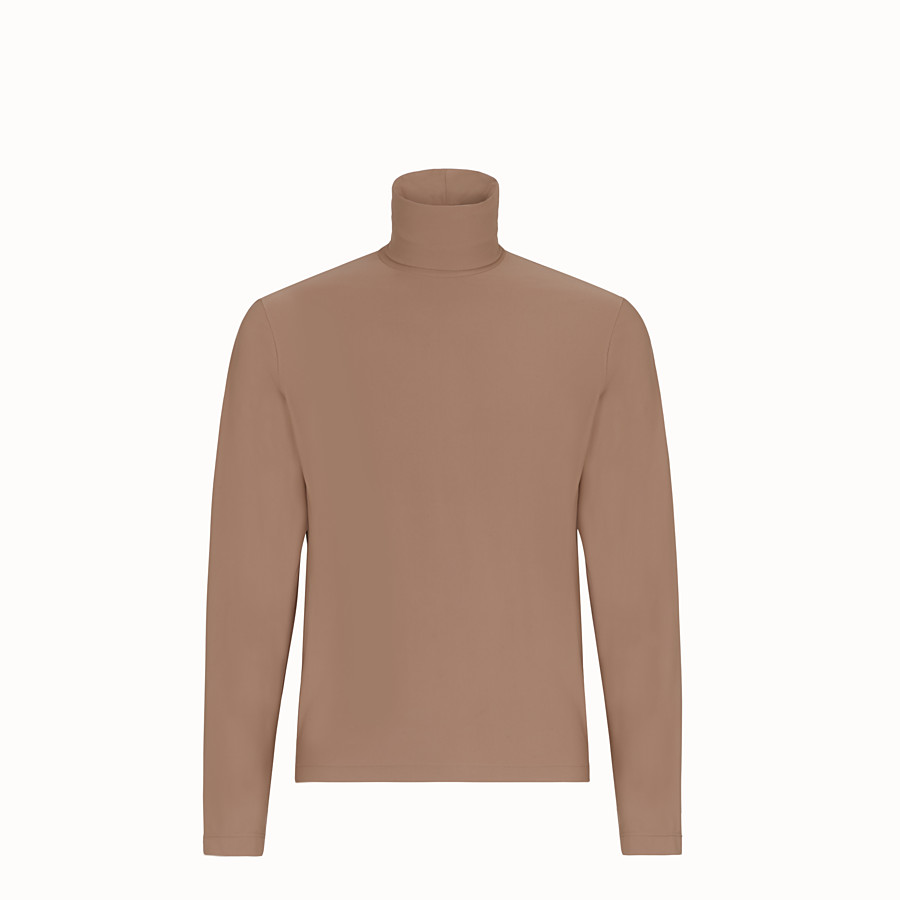 FENDI TURTLENECK - Brown jersey sweater - view 1 detail