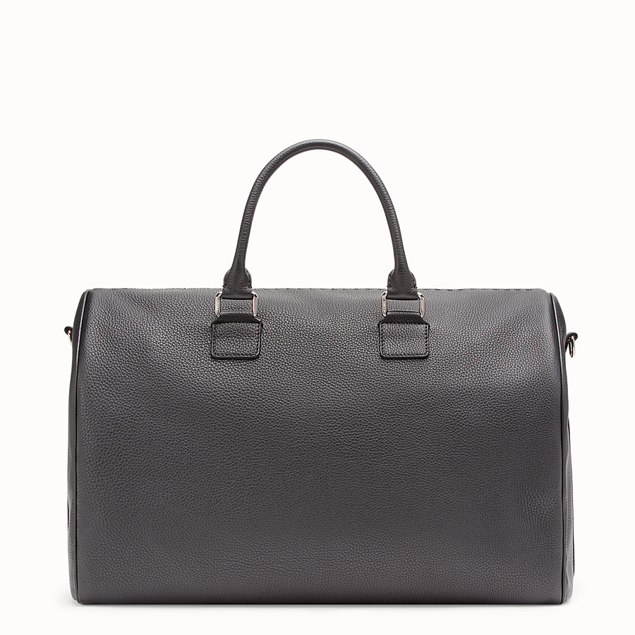 FENDI DUFFLE BAG - Black leather holdall bag - view 3 detail