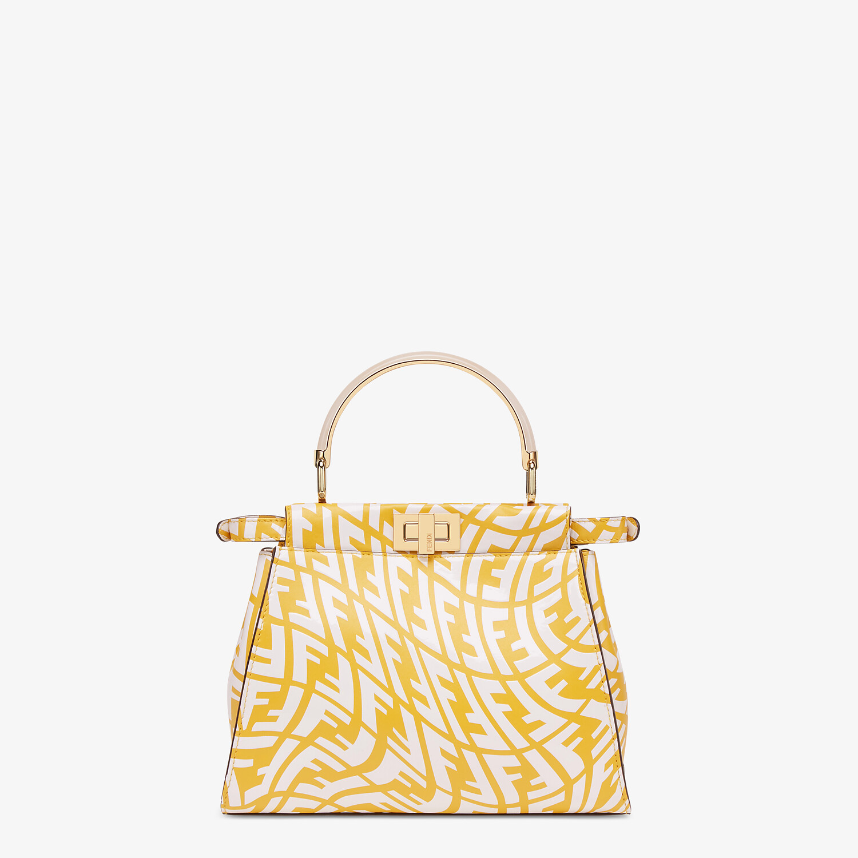 FENDI PEEKABOO MINI - Yellow and white FF Vertigo leather bag - view 4 detail