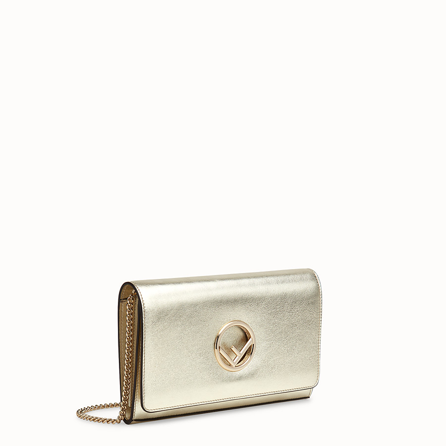 FENDI WALLET ON CHAIN - Champagne leather mini-bag - view 2 detail