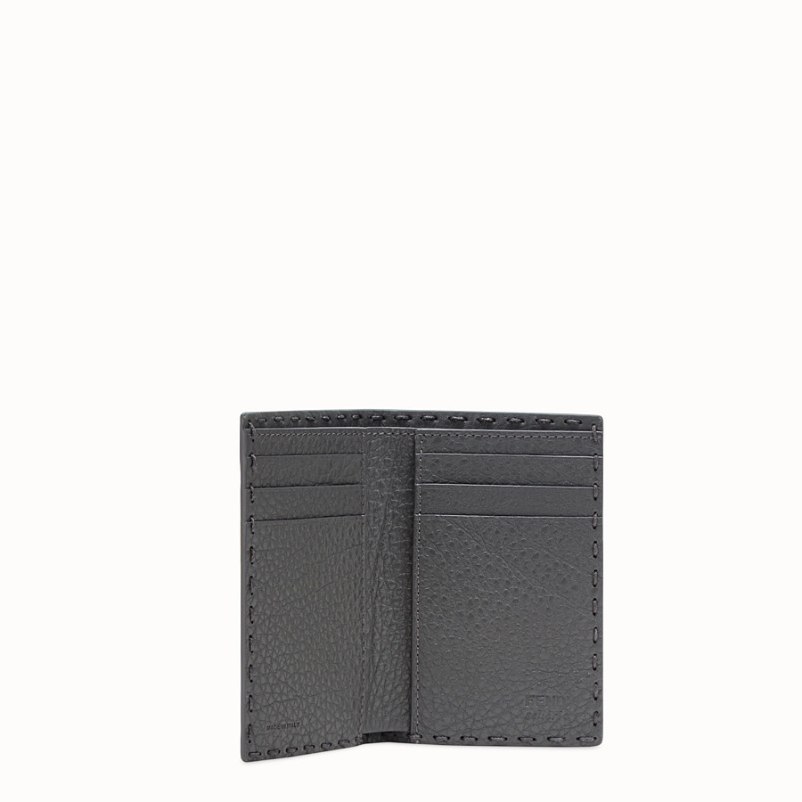 FENDI CARD HOLDER - Grey Romano leather card holder - view 3 detail