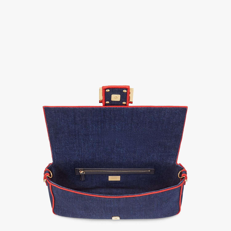 FENDI BAGUETTE LARGE - Blue denim bag - view 5 detail