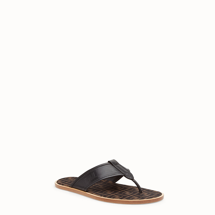 FENDI SANDALS - Black leather thong sandals - view 2 detail