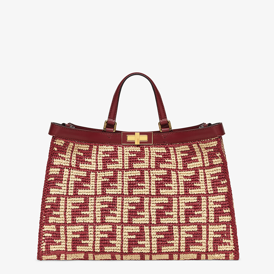 FENDI PEEKABOO X-TOTE - Burgundy FF raffia bag - view 1 detail