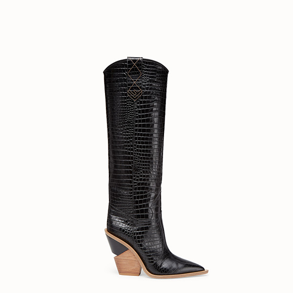 FENDI BOOTS - Black crocodile-embossed boots - view 1 small thumbnail