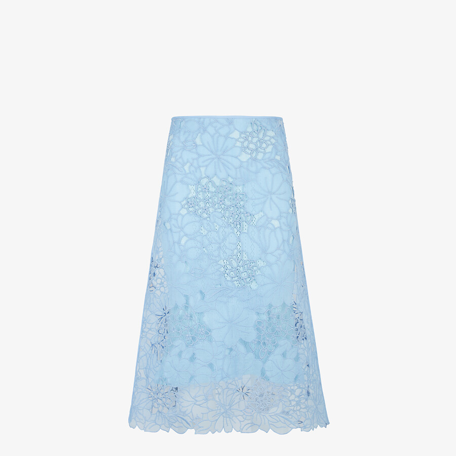 FENDI SKIRT - Light blue lace skirt - view 1 detail