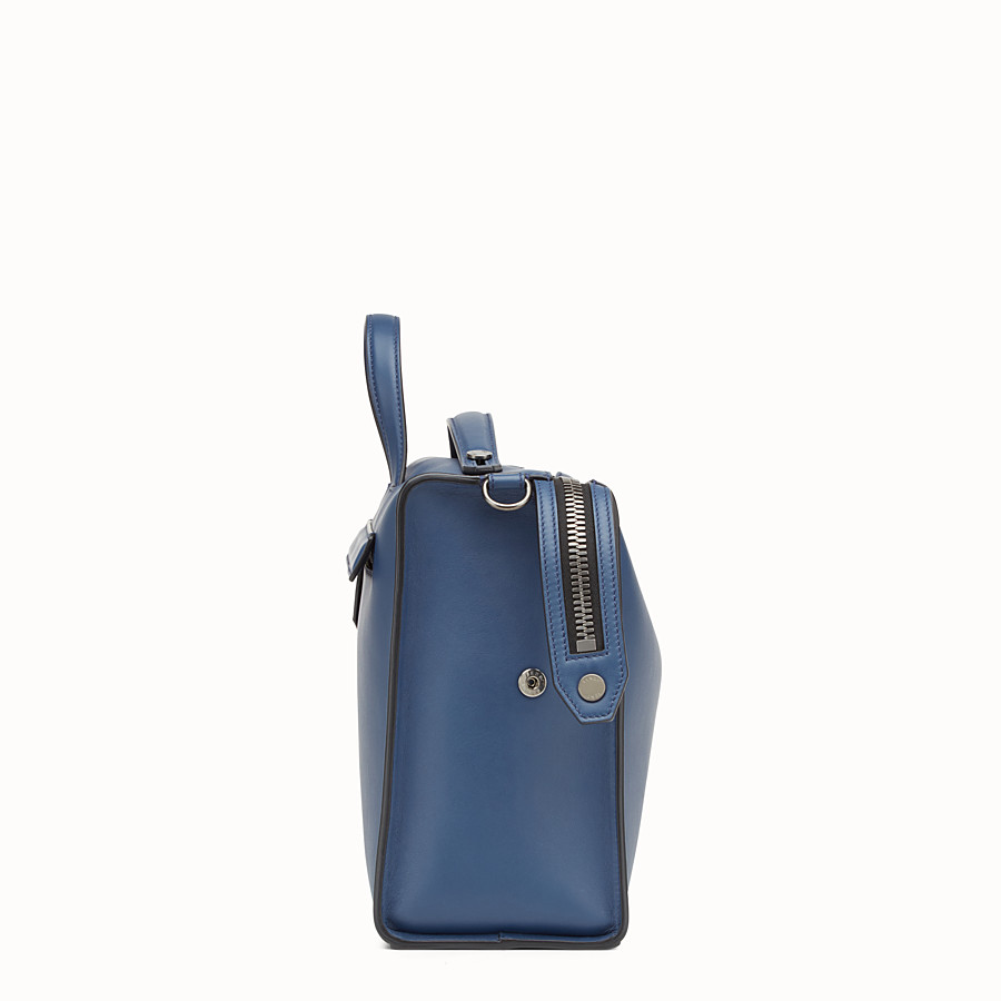 FENDI MESSENGER - Smooth blue leather handbag - view 2 detail