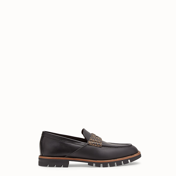 FENDI LOAFERS - Black leather and TPU loafers - view 1 small thumbnail