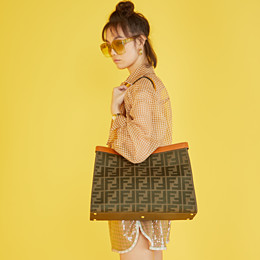 FENDI PEEKABOO X-TOTE - Green canvas bag - view 2 thumbnail