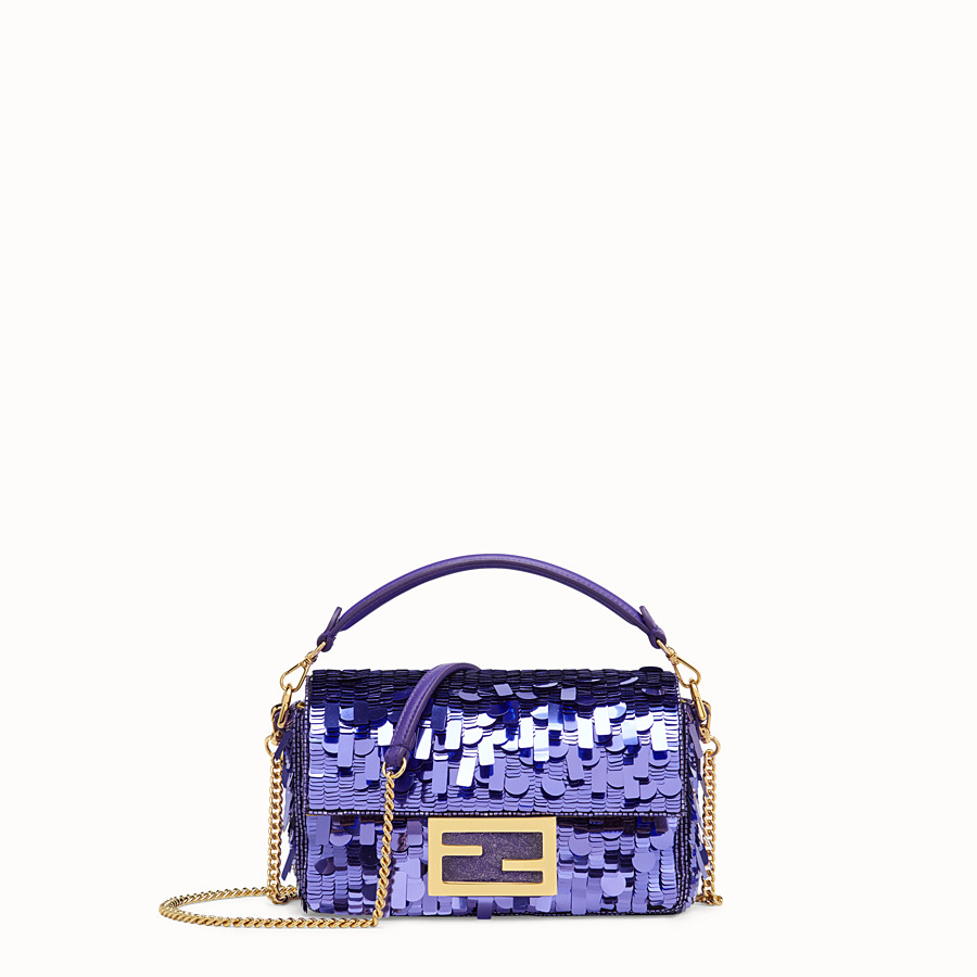 FENDI MINI BAGUETTE - Purple sequin minibag - view 1 detail