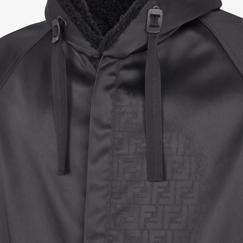 FENDI PARKA - Black nylon overcoat - view 3 detail