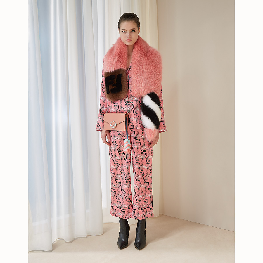 FENDI TALE SCARF - Pink fox fur collar - view 3 detail
