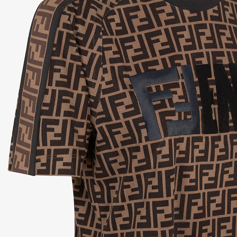 FENDI T-SHIRT - Multicolor jersey T-shirt - view 3 detail