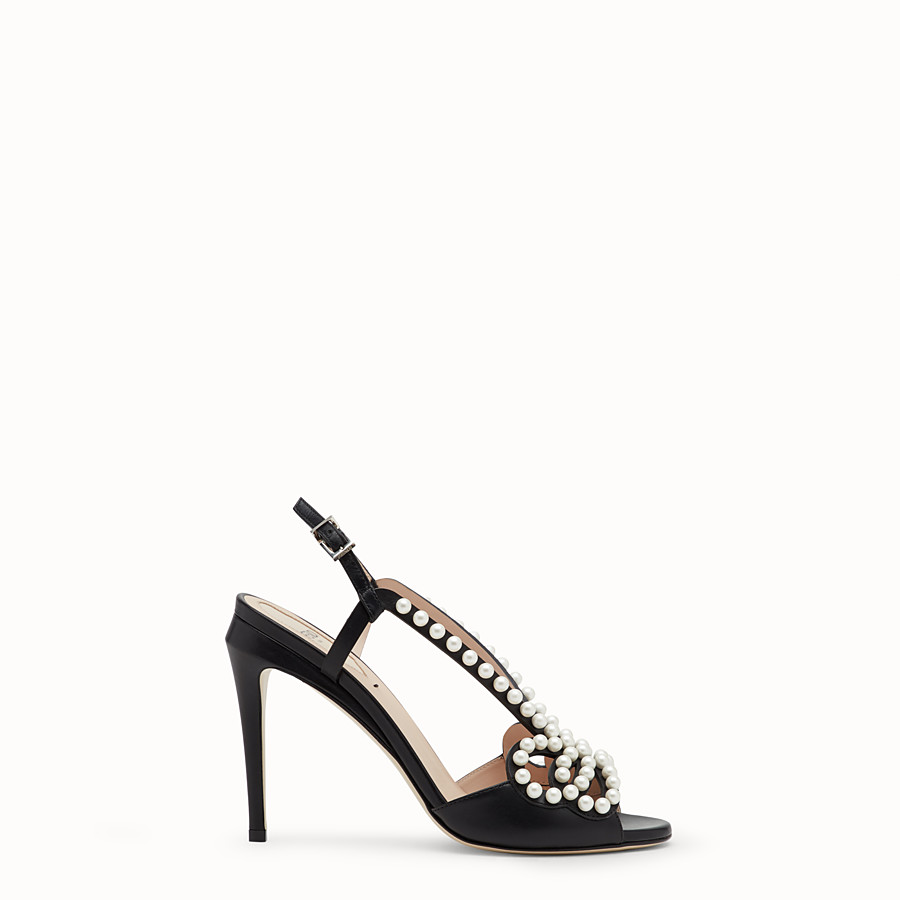 FENDI SANDALS - Black leather sandals - view 1 detail