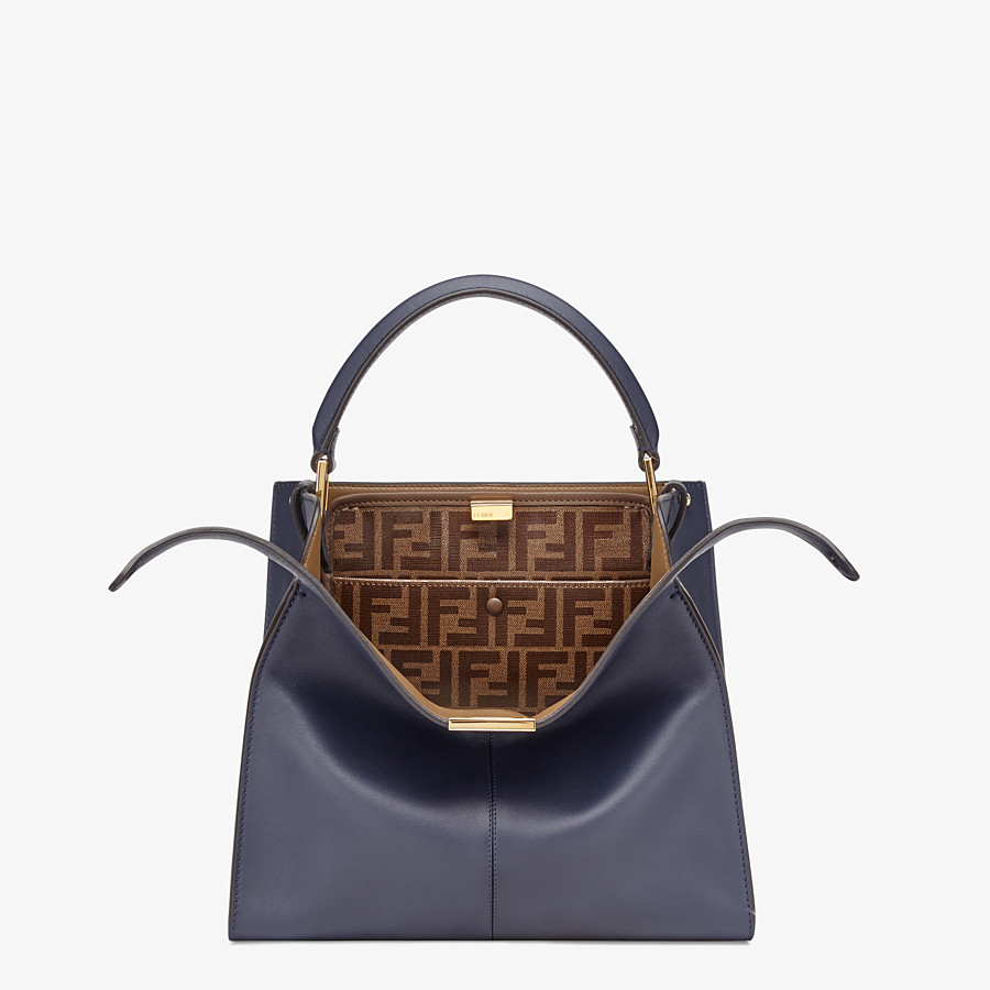FENDI PEEKABOO X-LITE MEDIUM - Tasche aus Leder in Blau - view 1 detail