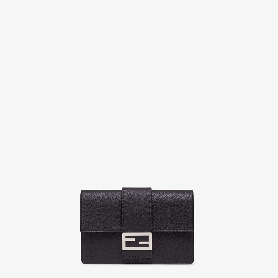 FENDI STANDING CLUTCH - Black calf leather pochette - view 1 detail
