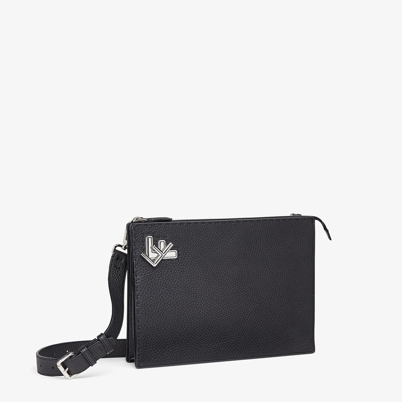 FENDI MESSENGER - Black leather bag - view 3 detail