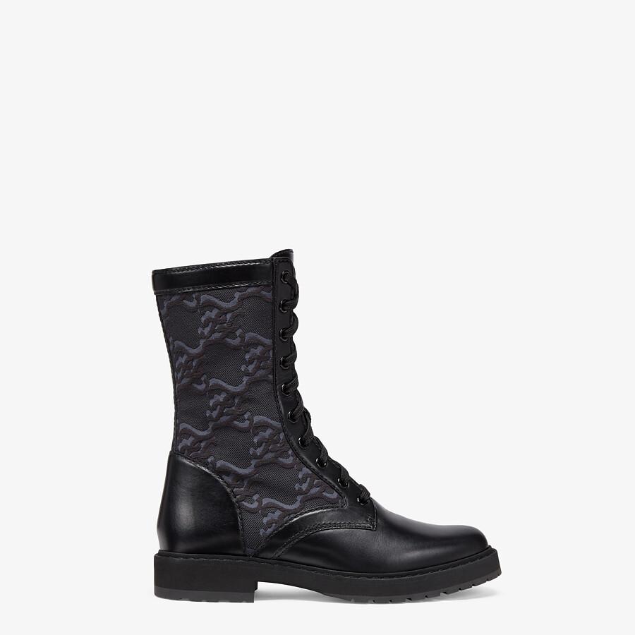 FENDI SIGNATURE - Black leather biker boots - view 1 detail
