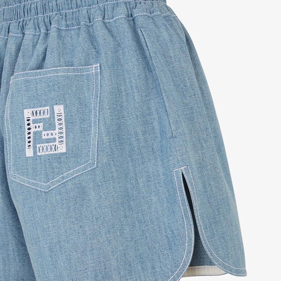 FENDI SHORTS - Light blue chambray shorts - view 3 detail