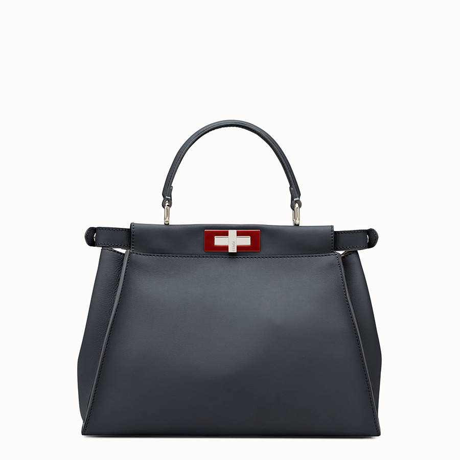 FENDI PEEKABOO REGULAR - Midnight-blue leather handbag - view 3 detail