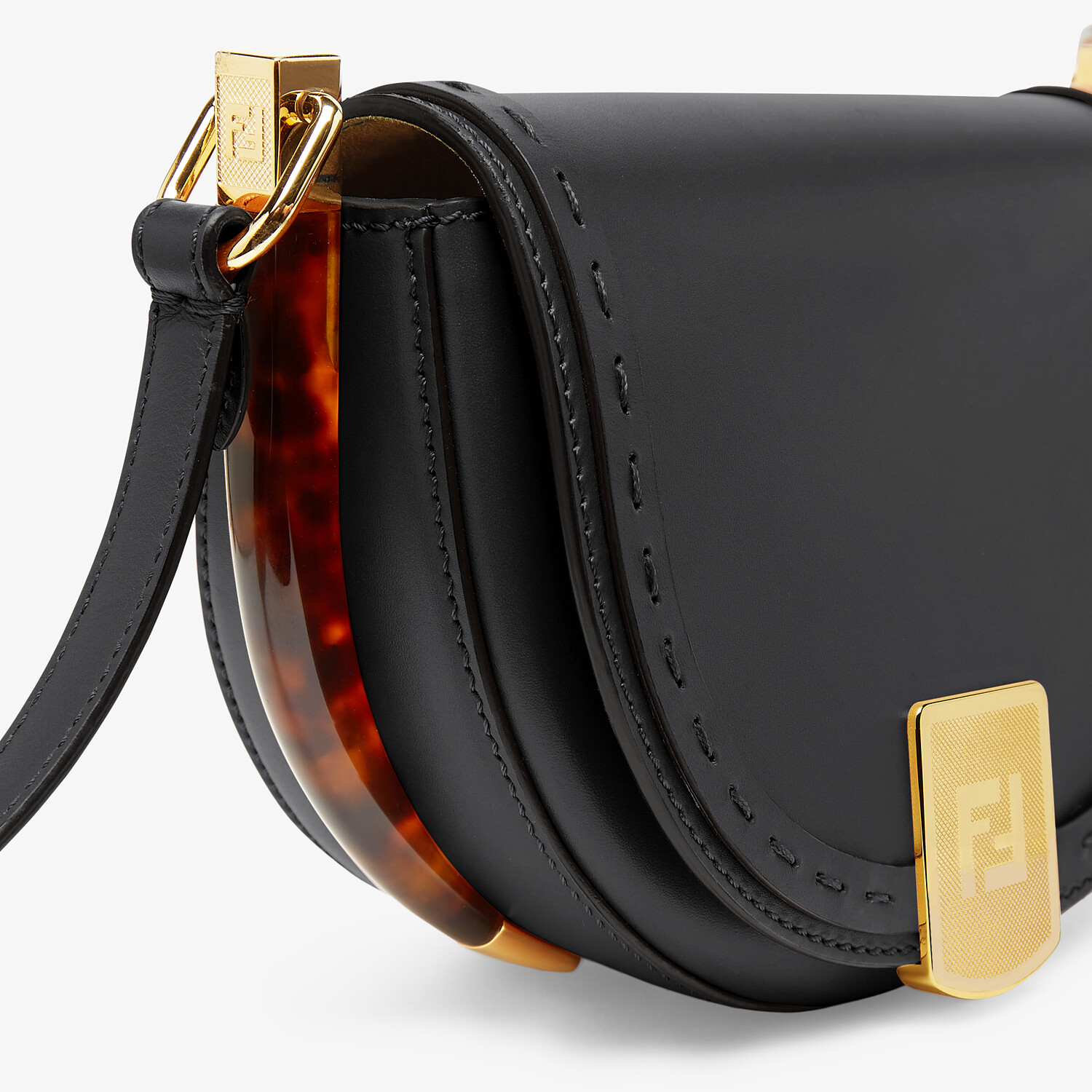 FENDI MOONLIGHT - Black leather bag - view 6 detail