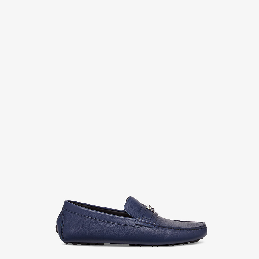 FENDI LOAFERS - Blue leather drivers - view 1 detail