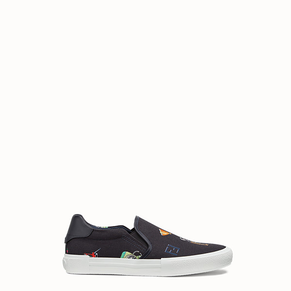 FENDI SNEAKERS - Blue canvas slip-ons - view 1 small thumbnail