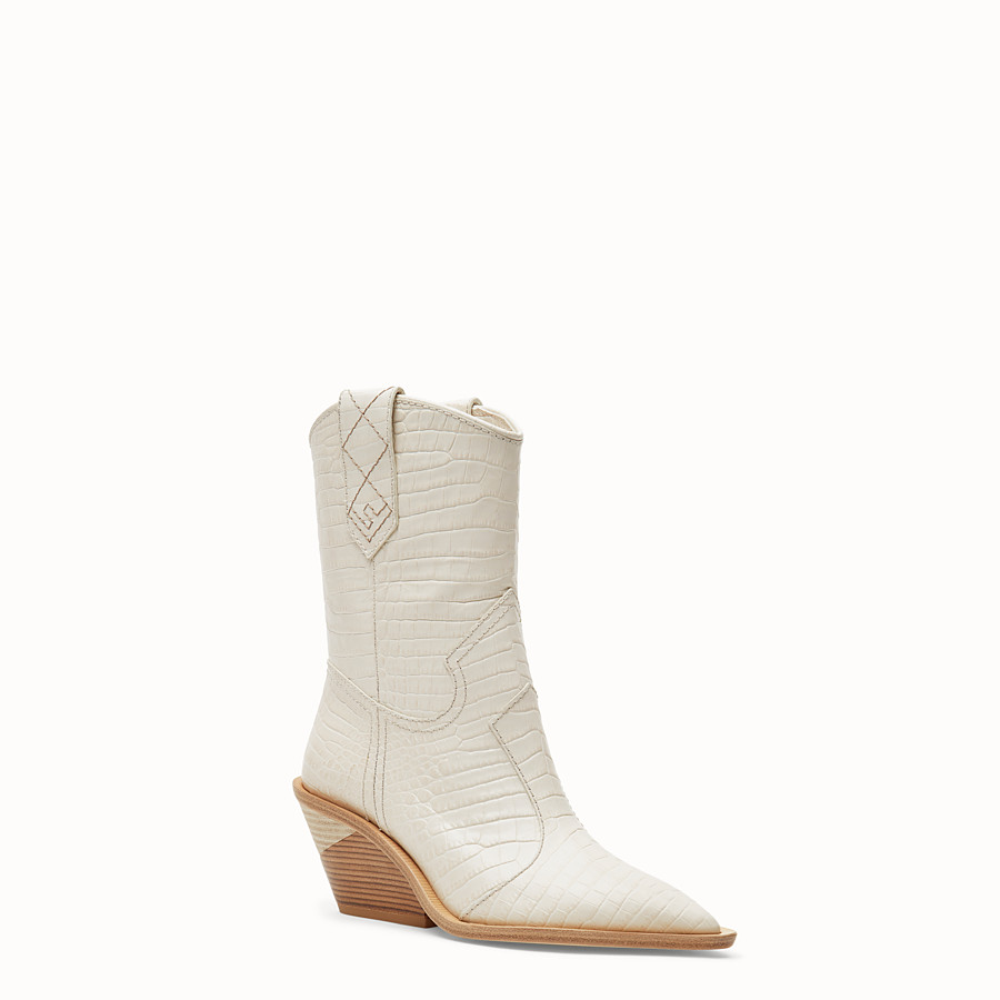 FENDI BOOTS - White crocodile-embossed ankle boots - view 2 detail