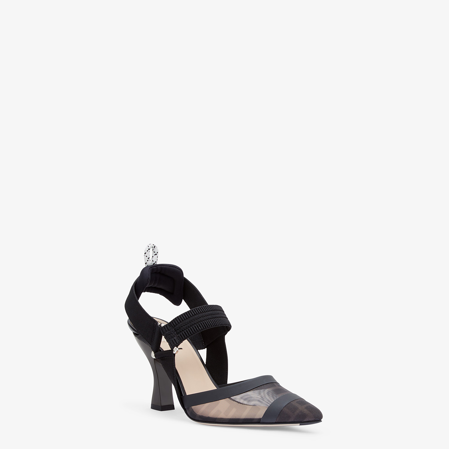 FENDI SLINGBACKS - Colibrì in mesh and black leather - view 2 detail