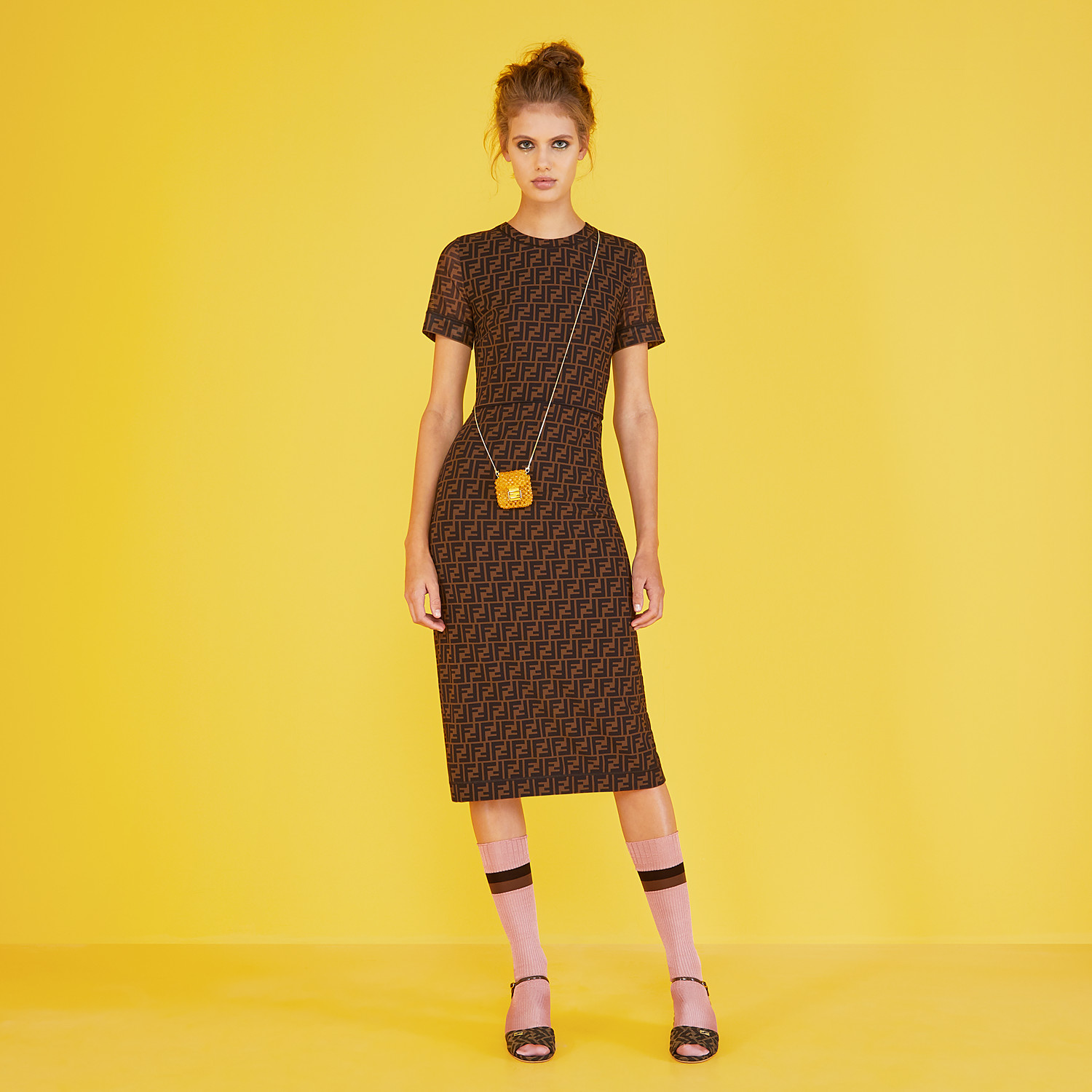 FENDI DRESS - Brown micro mesh dress - view 4 detail