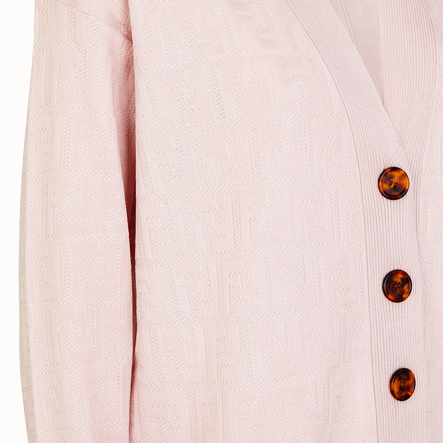 FENDI CARDIGAN - Pink viscose and cotton cardigan - view 3 detail