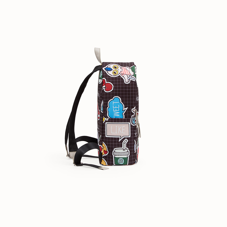 FENDI BABY BACKPACK - Canvas backpack with multicolour all-over print - view 2 detail