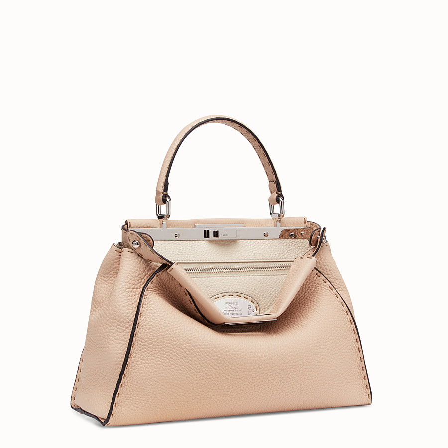 FENDI PEEKABOO ICONIC MEDIUM - Beige leather bag - view 3 detail