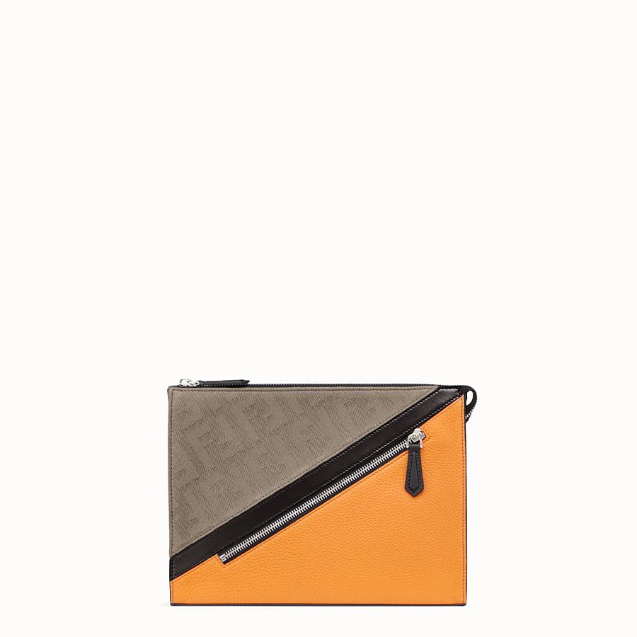 FENDI CLUTCH - Pochette in canvas marrone - vista 1 dettaglio
