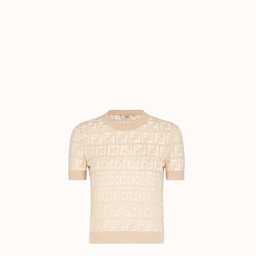FENDI PULLOVER - Beige cotton jumper - view 1 detail