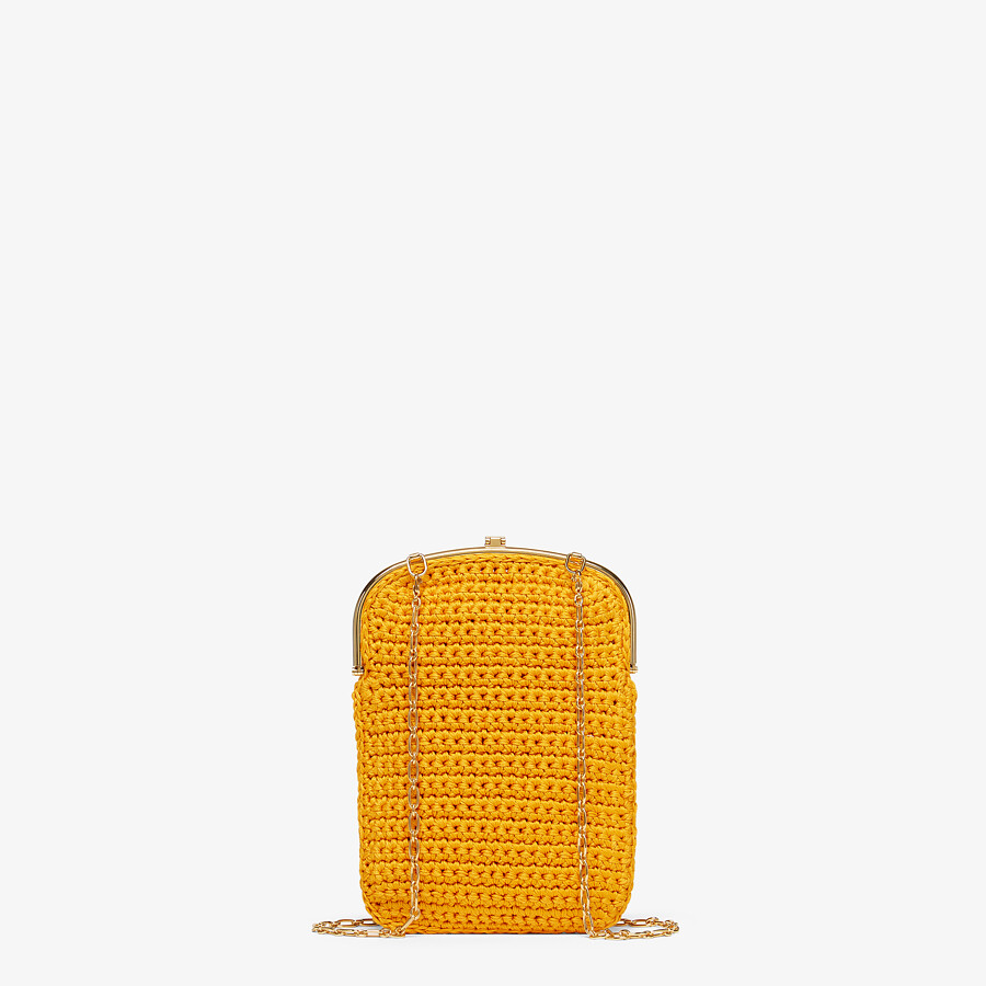 FENDI BAGUETTE PHONE BAG - Orange fabric mini-bag - view 3 detail