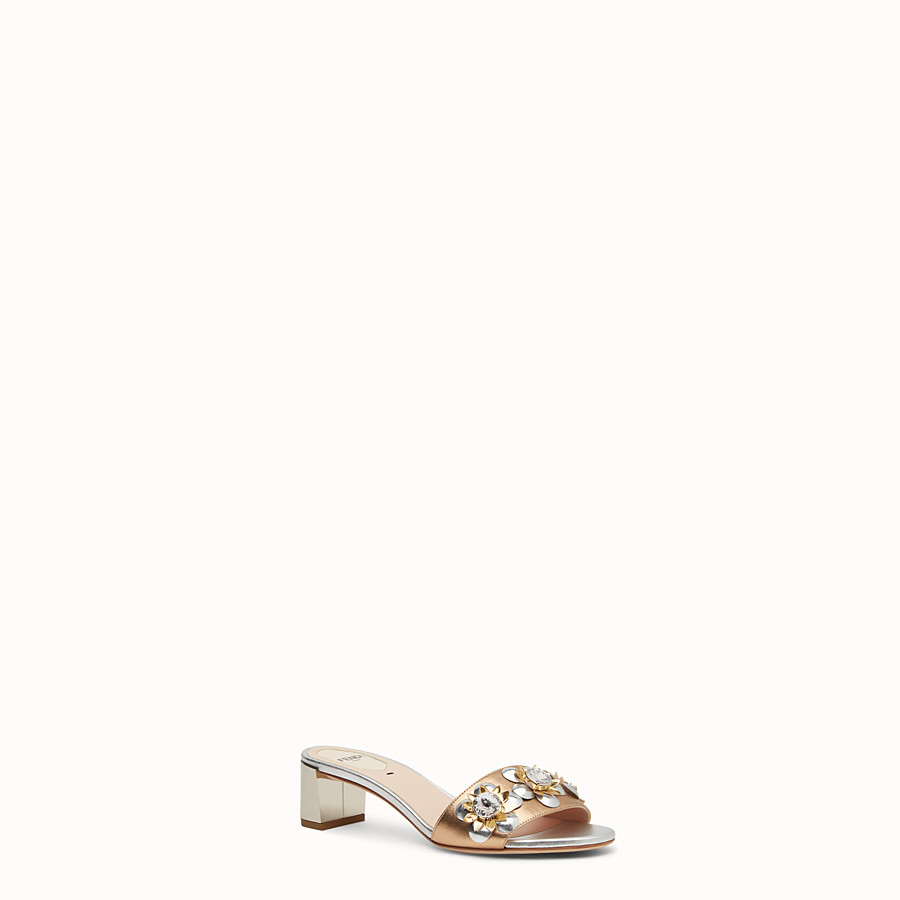 FENDI SANDALS - in laminated nappa with flowers - view 2 detail