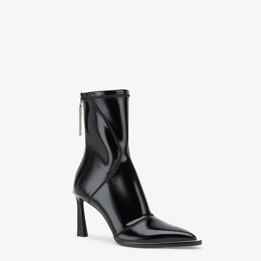 FENDI ANKLE BOOTS - Glossy black neoprene ankle boots - view 2 detail